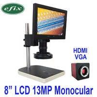 efix 13MP HDMI VGA HD Digital Camera Microscope set+56 LED Ring Light C mount lens + 8 Inch LCD Monocular Soldering Tool
