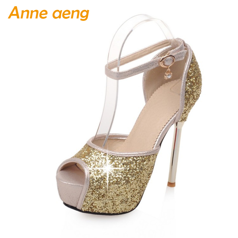 Women shoes 13cm high thin heel pumps platform peep toe bridal wedding shoes bling evening party shoes gold white women pumps women s fashion gold lace dinner evening party pumps shoes plus sizes low high heels custom made bridal wedding shoes