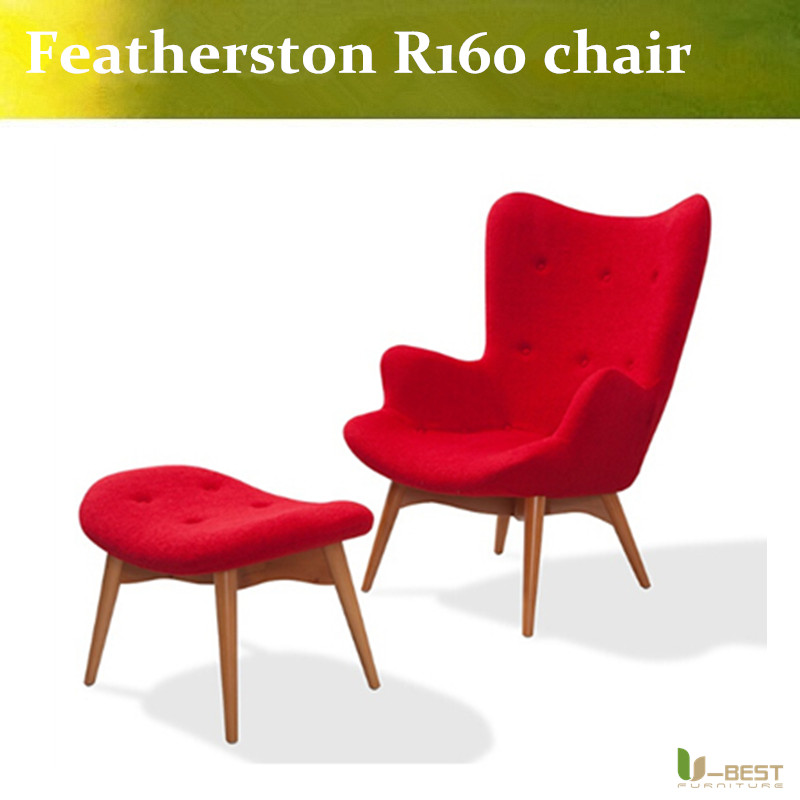 U-BEST New Replica Charming GRANT FEATHERSTON Armchair + footstool CHAIR RETRO red fabric литой диск replica fr lx 98 8 5x20 5x150 d110 2 et54 gmf