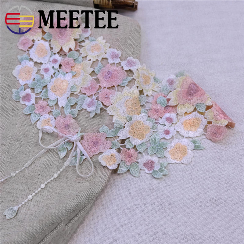 High quality women beautiful lace collar colored Flower DIY embrodiery Lace Collar Sewing Craft Neckline Trimming Decoration 562