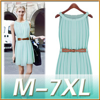 Summer Style Women Dresses M 7xl Plus Size Vestidos 6XL Big Sizes Clothes Casual Sleeveless Pleated