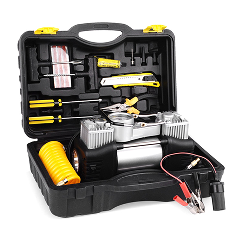 12V Car Electric Inflator Pump with Tire Repair Tool Car Air Compressor with Toolbox Twin Cylinder Inflatable Pump12V Car Electric Inflator Pump with Tire Repair Tool Car Air Compressor with Toolbox Twin Cylinder Inflatable Pump