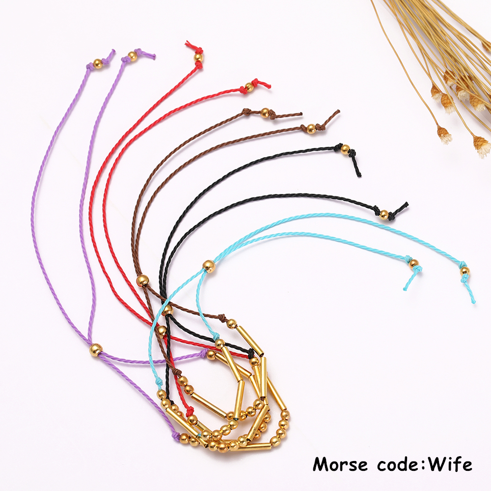 Audacious Dawapara Handmade Morse Code Bracelet Custom Multi-color Personalized Hidden Message Wife Diy Bracelet For Men/woman Gift Wrap Bracelets