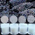 10 г/кор.-без отверстия микро бусины для ногтей-Радужный прозрачный-AB цвет 0,6/1/1.5/2 мм икра бусины Кристалл 3D микро шар микробусины