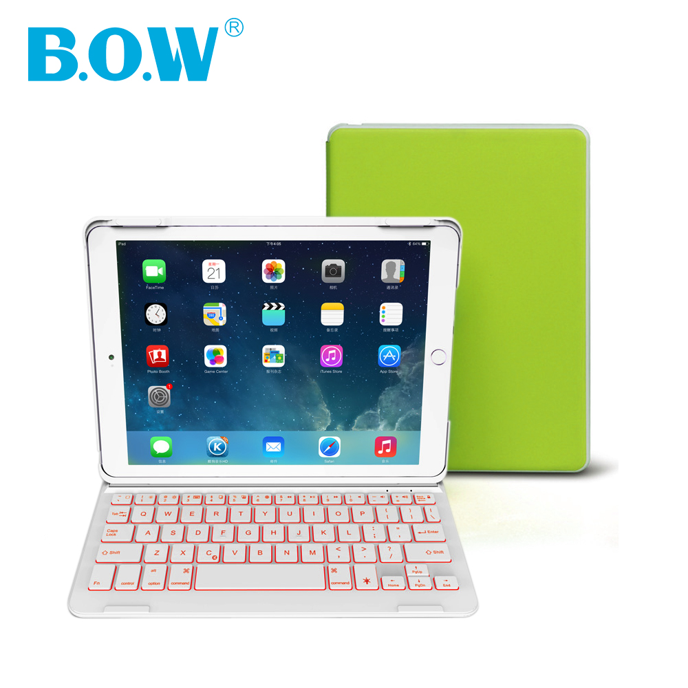 B.O.W Backlit wireless keyboard For iPad Air 2(iPad6) Bluetooth Keyboard with Auto Sleep/Wake For iPad 6 Case [ With Free Gift ]