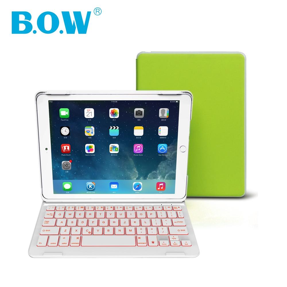 B.O.W Backlit wireless keyboard For iPad Air 2(iPad6) Bluetooth Keyboard with Auto Sleep/Wake For iPad 6 Case [ With Free Gift ] for ipad air 1 case with keyboard wireless bluetooth keyboard abs plastic stand protective bluetooth keyboard for ipad 5