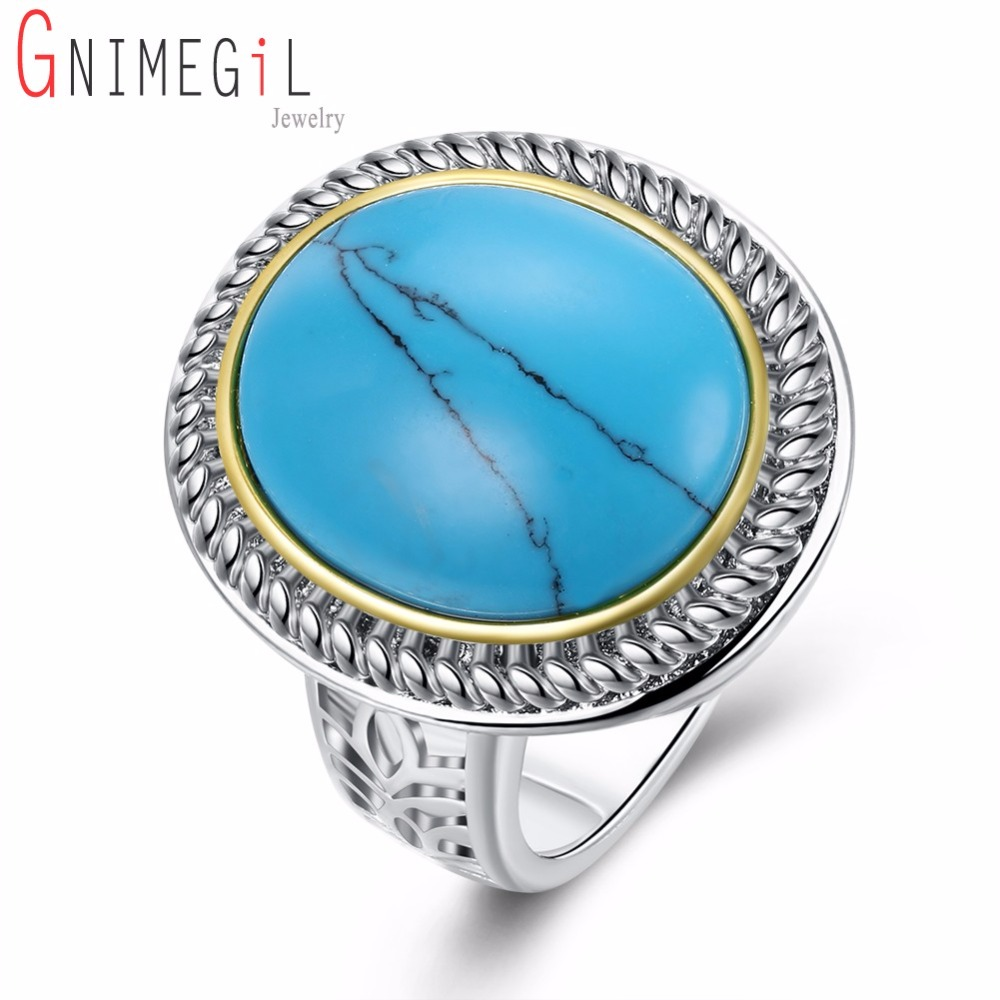 Natural Big Round & Oval Green Stone Finger Ring for Women White Gold Color High-end Fashion Jewelry New 2017 Mama Gifts