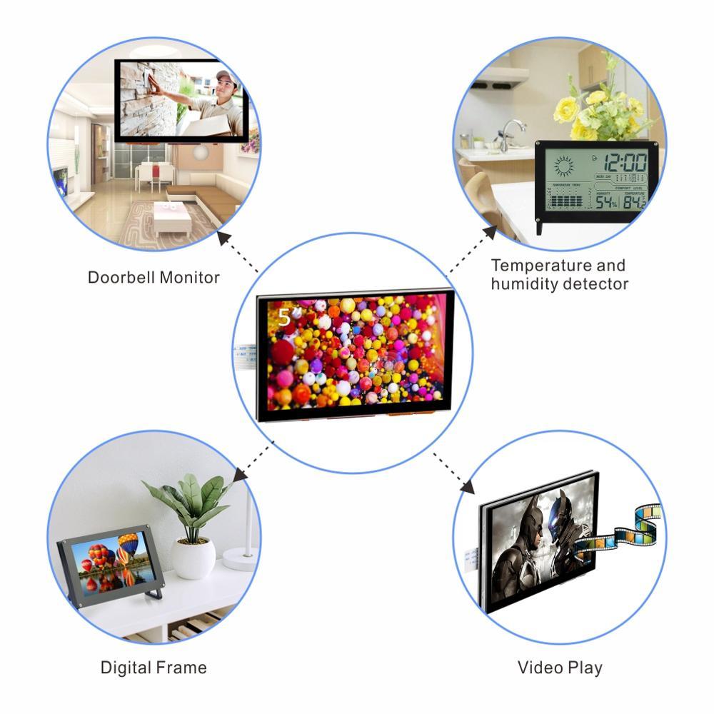 5 pouces 800x480 Raspberry Pi TFT écran tactile DSI connecteur LCD Support d'affichage framboise, Ubuntu MATE, Kali, système de RetroPie - 2