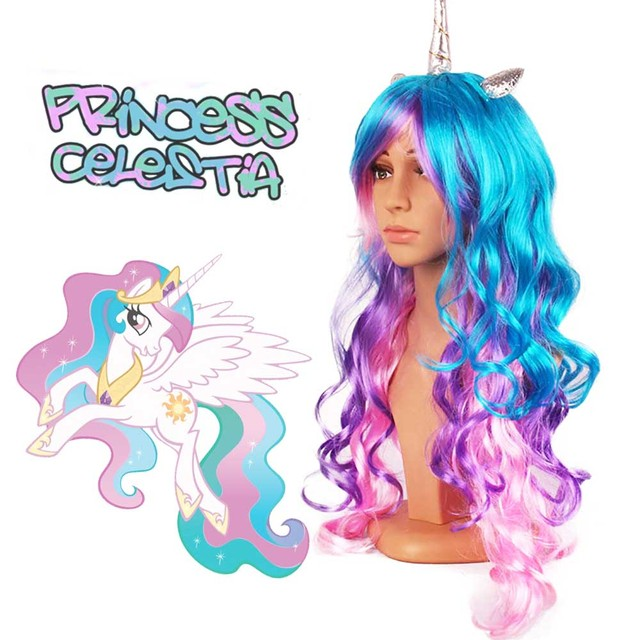 Woman's Cosplay Rainbow Dash with Unicorn Little Ponies Tales Twilight Sparkle Neon Long Curly Hair Beauty Synthetic Hair