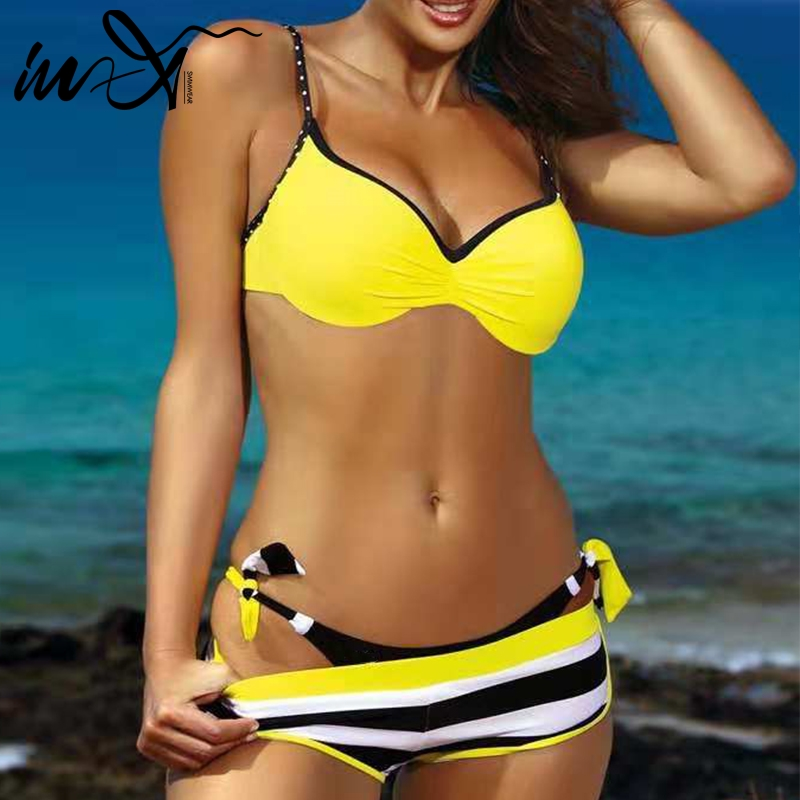 In-X Plus Size Swimwear Women Bathers Push Up Sexy Bikini 2019 Yellow Swimsuit Female Biquini Striped Bathing Suit Beach Wear XL