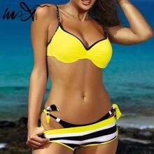 In-X Plus size swimwear women bathers Push up sexy bikini 2019 Yellow swimsuit female biquini Striped bathing suit Beach wear XL