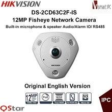 Hikvision Original English Version DS-2CD63C2F-IS 12MP Fisheye Camera 360 Degree View Angle Audio IP Camera CCTV Camera