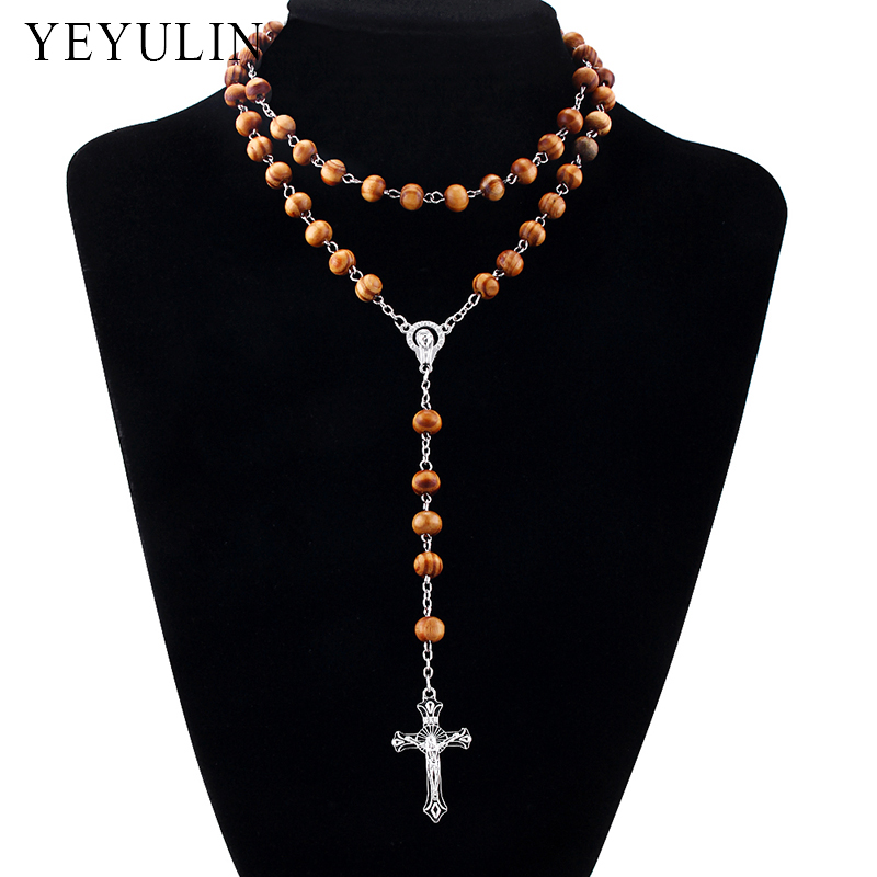 8mm Pine Wood Bead Chain Alloy Cross Pendant Necklace Religious Rosary Wooden Beads Fashion Necklaces For Woman Men