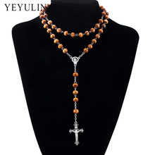 8mm Pine Wood Bead Chain Alloy Cross Pendant Necklace Religious Rosary Wooden