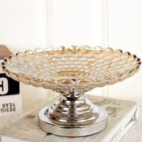 Luxury Large Crystal Glass Dry Fruit Plate Dessert Bowl Candy Snack Storage Tray Bar Party Table