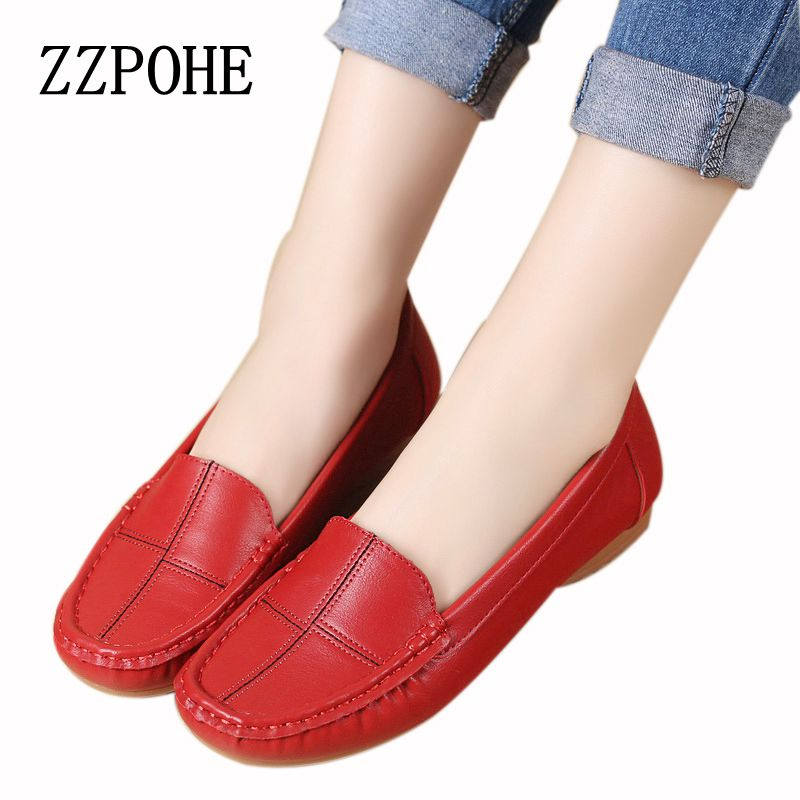 ZZPOHE leather shoes middle-aged mother shoes Women Slip on Casual shallow mouth flat Shoes soft bottom new work shoes Plus Size aiyuqi 2018 spring new genuine leather women shoes shallow mouth casual shoes plus size 41 42 43 mother shoes female page 1
