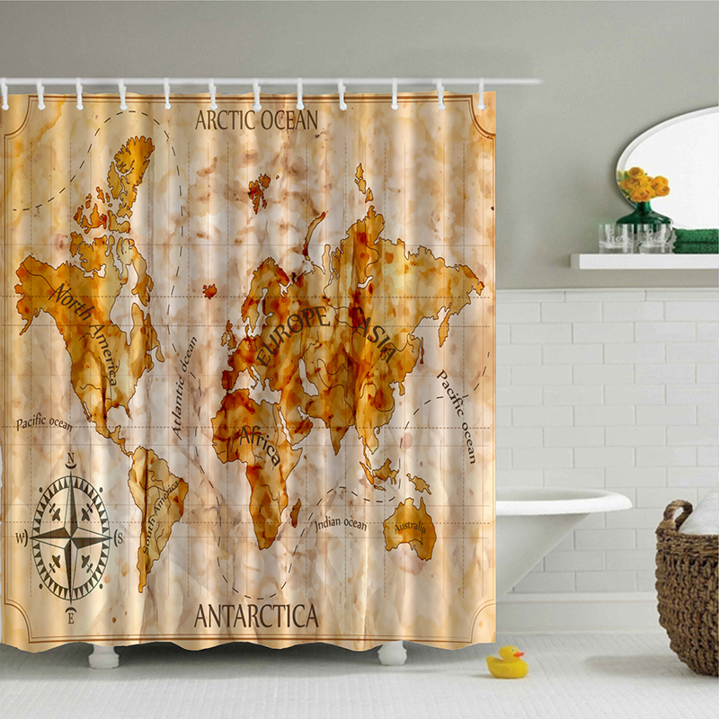 Mottled Rusty World Ocean Continent Personality Map Polyester ...