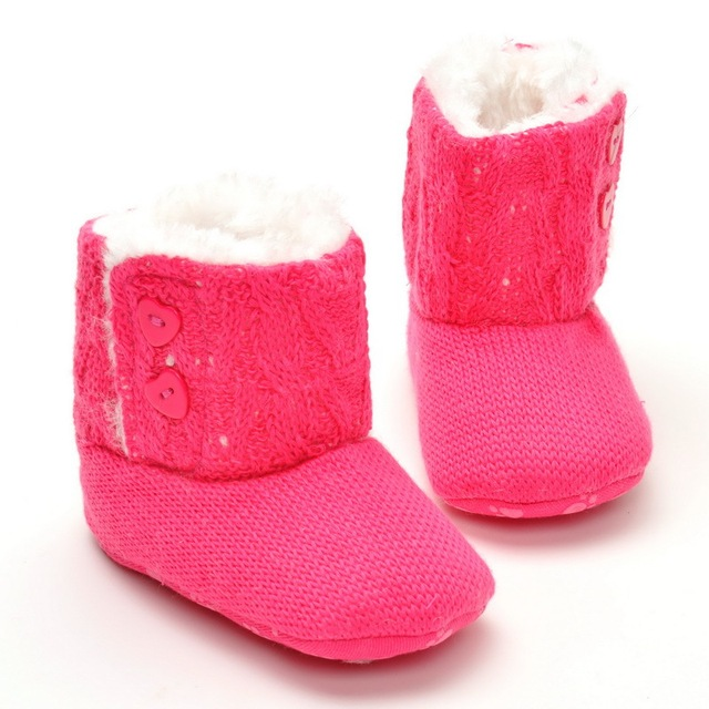 Baby Girl Buttons Knitted Baby Shoes Newborn Winter Wool Children's Snow Boots Soft Bottom Cotton Baby Shoes WMC2105