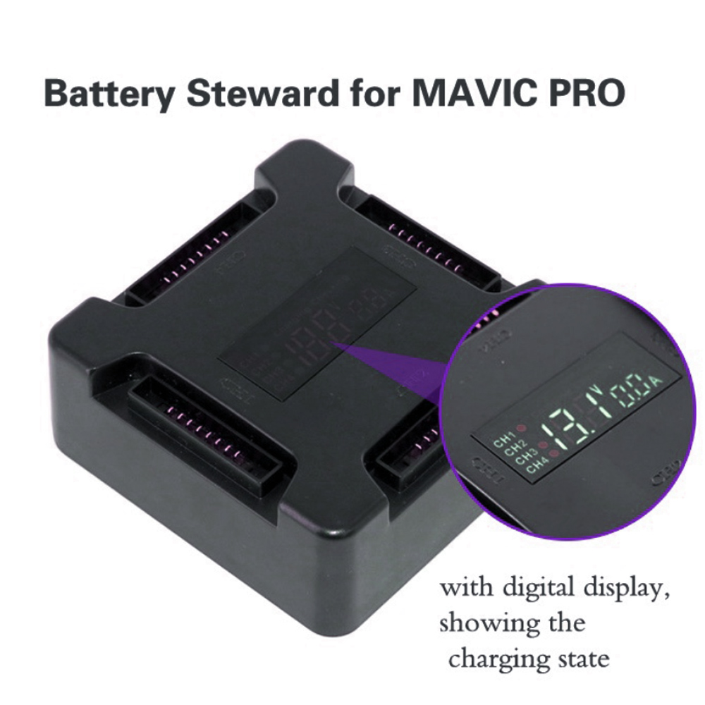SUNNYLIFE 4 in1 Battery Charger Dock Smart Multi Battery Charging Hub / Display Screen for DJI Mavic Pro Drone Battery Charging
