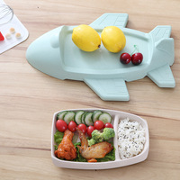 Creative aircraft shape Dinnerware Bamboo fiber baby plate Tray cartoon shatter resistant cute Cup lunch box children's rice bow