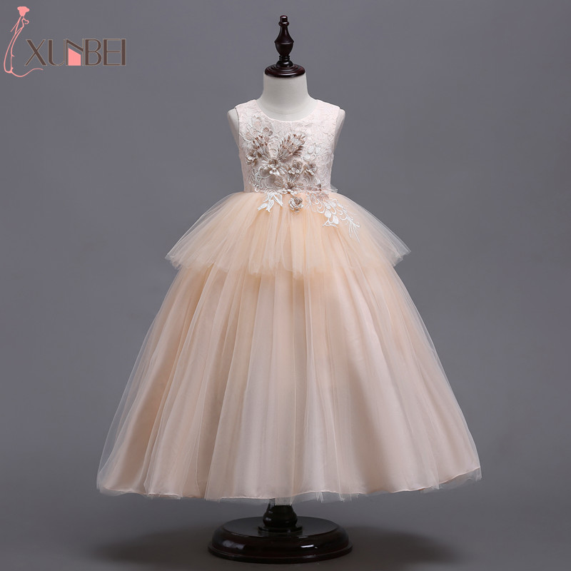 Champagne Ball Gown   Flower     Girl     Dresses   Tulle 2019 Appliqued   Dresses   For   Girls   Kids Prom   Dresses   vestidos infantil de festa