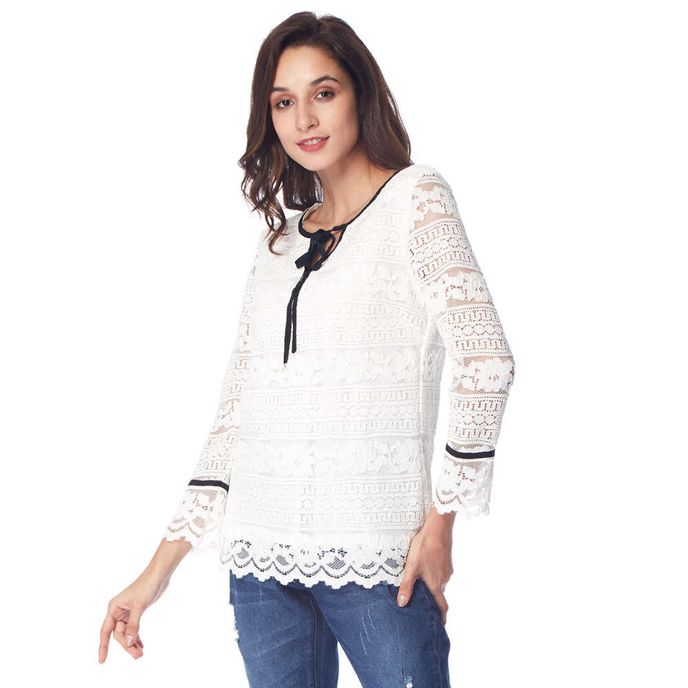215576ec75f386 Kenancy 2XL Plus Size Color Block Lace Up White Lace Womens Tops And Blouses  Office &
