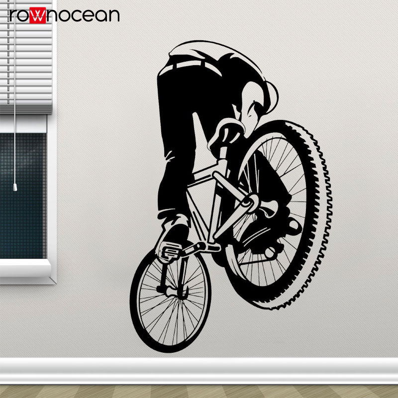 BMX Dirt Bike Decal Freestyle Bicycle Wall Sticker Vinyl Home Decor Kids Boys Teenager Room Art Mural Wallpaper Rmovable <font><b>3386</b></font> image