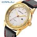 2017 crrju mens relojes de primeras marcas de lujo de los hombres reloj de cuarzo resistente al agua relojes deportivos militar hombres de cuero masculino del relogio