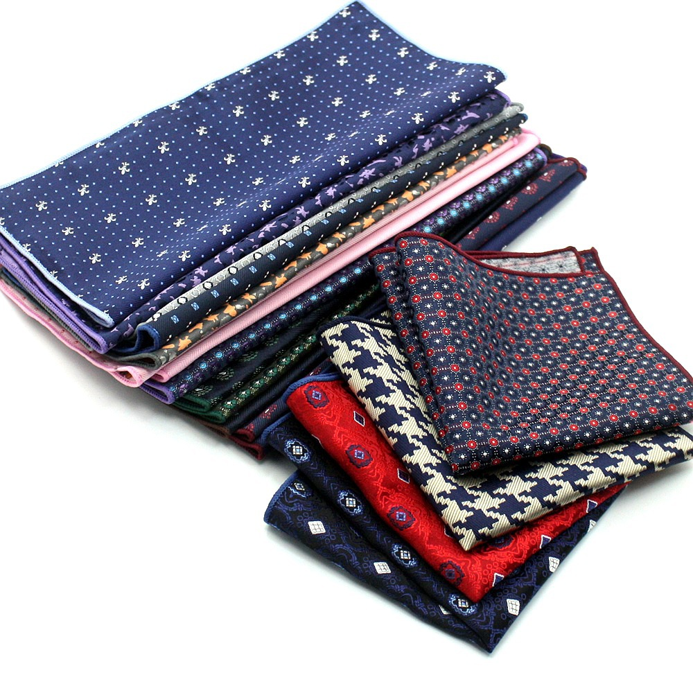 CityRaider Brand Paisley Navy Blue Mens Handkerchiefs Red Silk Pocket Squares For Men Wedding 10pcs/lot Wholesale VIP Link C024
