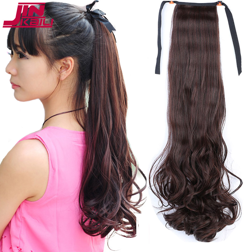 JINKAILI WIG Long Curly Wavy Heat Resistant Ponytail Clip in Hair Extensions Hair Tail Ponytail For Women