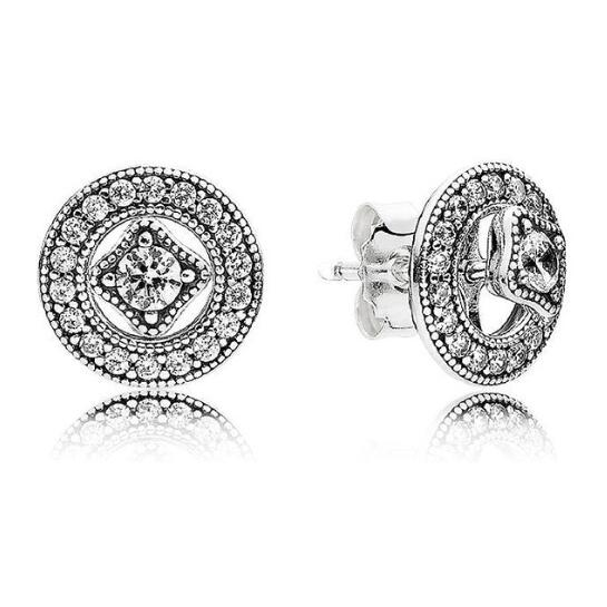 Authentic 925 Sterling Silver Pandora Earring Vintage Allure With Crystal Studs Earrings For Women Wedding Gift Fine JewelryAuthentic 925 Sterling Silver Pandora Earring Vintage Allure With Crystal Studs Earrings For Women Wedding Gift Fine Jewelry