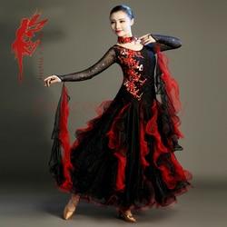 New Ballroom dance costumes embroidery long sleeves stones ballroom dance dress for women ballroom dance competition dresses