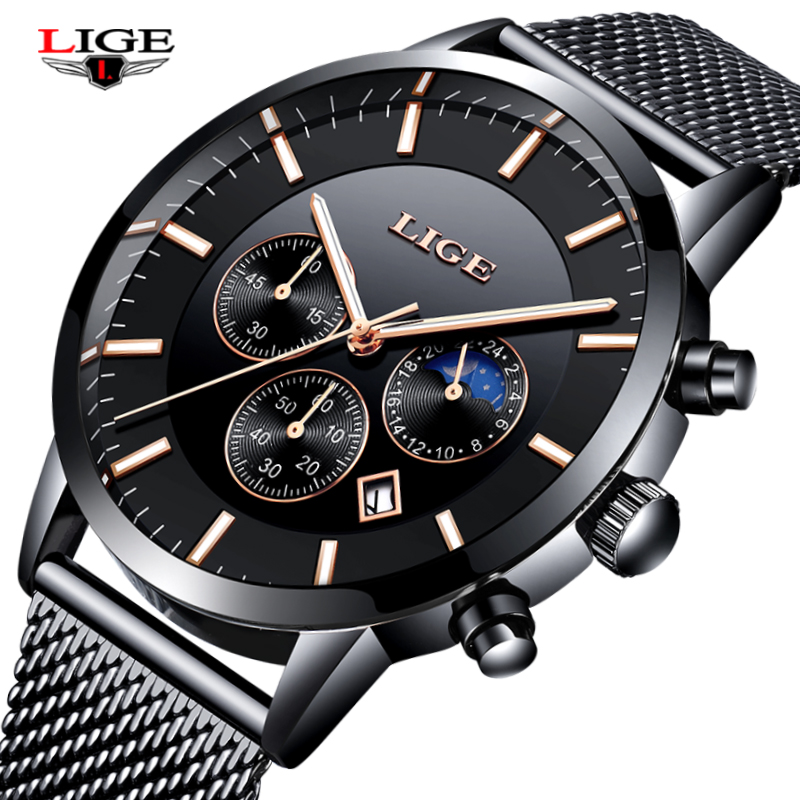 LIGE Топ Элитный бренд часы Мужские Мода Полный нержавеющей стали Бизнес часы Аналоговые кварцевые наручные часы Relogio Masculino