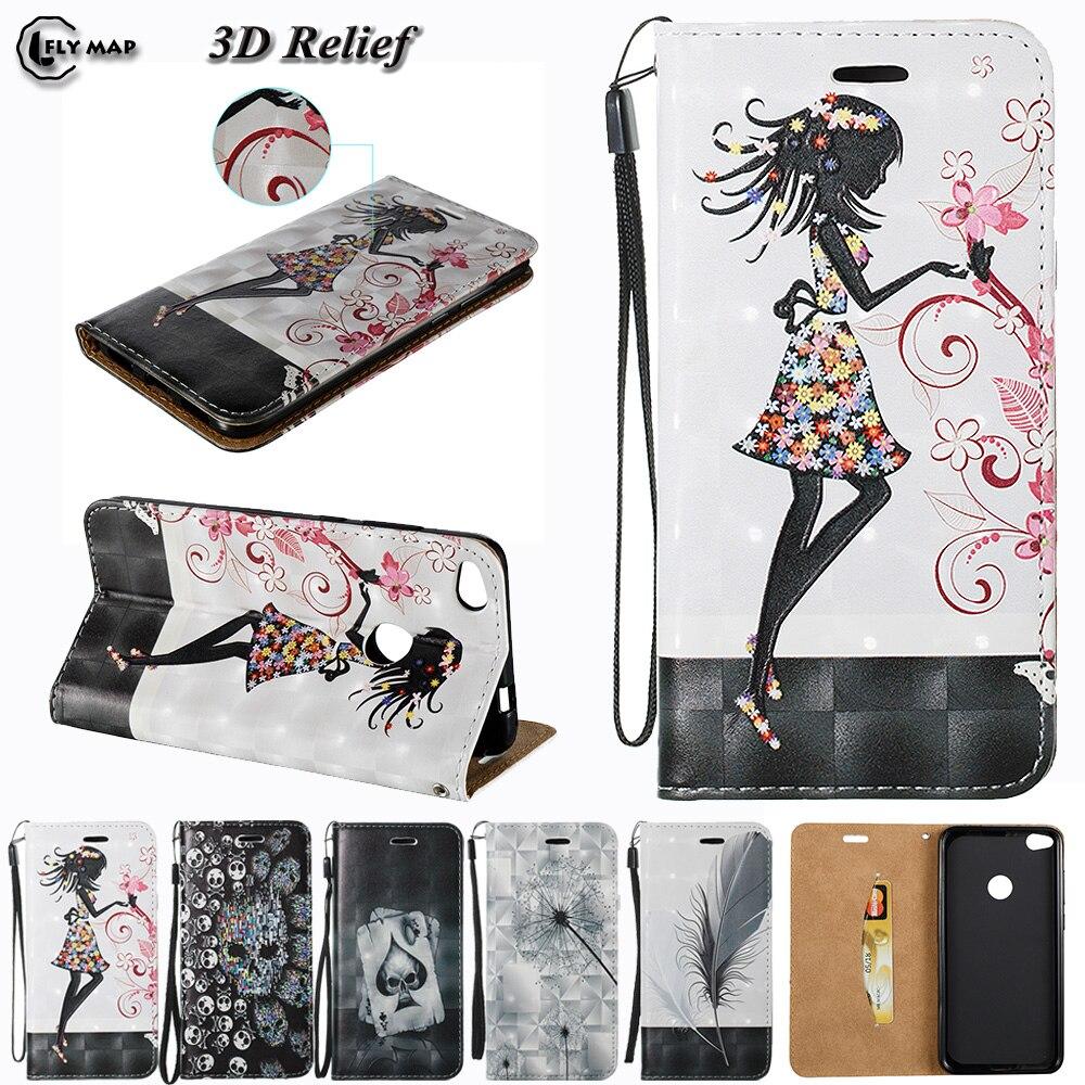 3D Relief Case For Huawei P8 Lite 2017 P 8 9 PRA-TL10 PRA-LX1 Flip Wallet Phone Cover Coque For P9 Lite 2017 PRA LX1 LA1 Bag