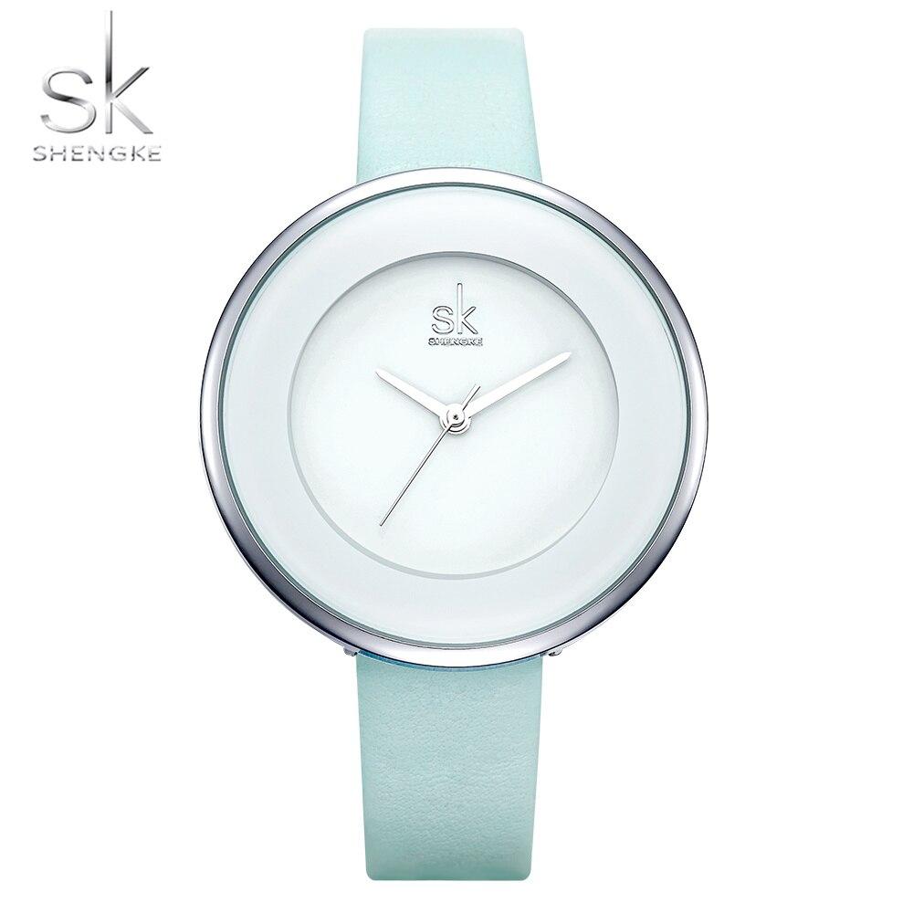 Shengke Brand Women Luxury Watches Female White Leather Wristwatch Mixmatch Dress Quartz Clock Ultra Thin Relogio Feminino 2018
