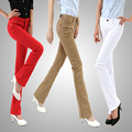 Free Shipping spring jeans female elastic plus size flare boot cut trousers casual candy color pants