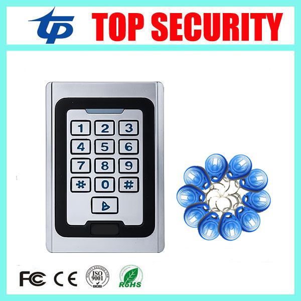 Metal cover access control card reader with led keypad surface waterproof standalone door access controller system+10 keys