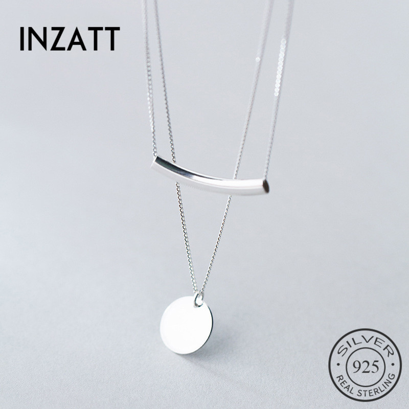 INZATT Real 925 Sterling Silver Personality Pendant Necklaces Minimalist Choker Fine Jewelry For Women Party Cute Accessories