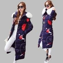 2016 Женщин Зимнее Пальто С Капюшоном Большой Меховой Воротник Пуховик мода Толстые Теплые Пальто Хлопка Большой размер Случайные Хлопка Куртка AB205