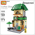 Sola venta loz mini bloques de starbucks coffee mini escena de la calle al por menor tienda de la tienda de juguetes de bloques de construcción modelo de arquitectura 1608