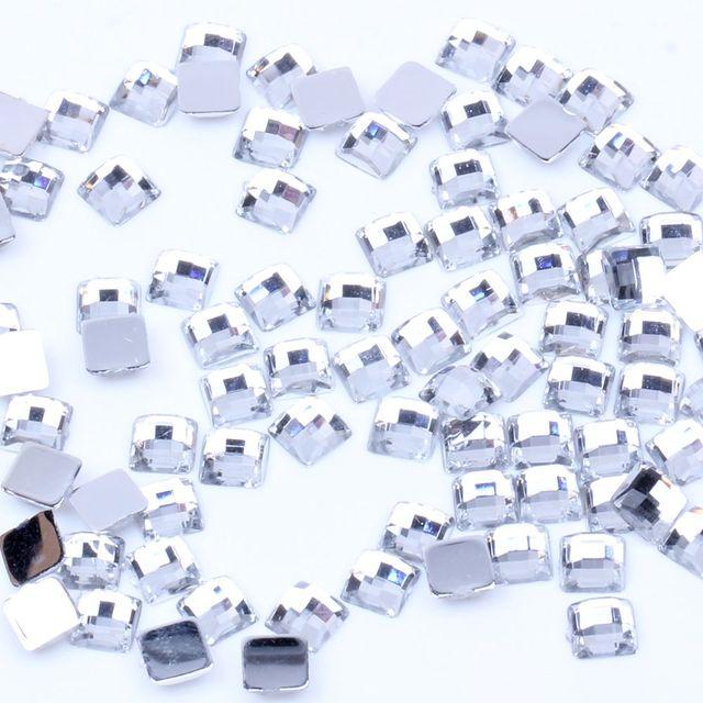 5MM 6MM 100pcs Acrylic Rhinestones square Shape Earth Facets Flat back Gems  Glue On Beads DIY Crafts Wedding Clothes Decorations 8bab54b13086
