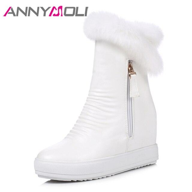 ANNYMOLI Kadın Botları Kar Botları Kış Kürk Yüksekliği Artan Topuk yarım çizmeler Zip Peluş Platformu Kama Topuk Ayakkabı Bayanlar Boyutu 40