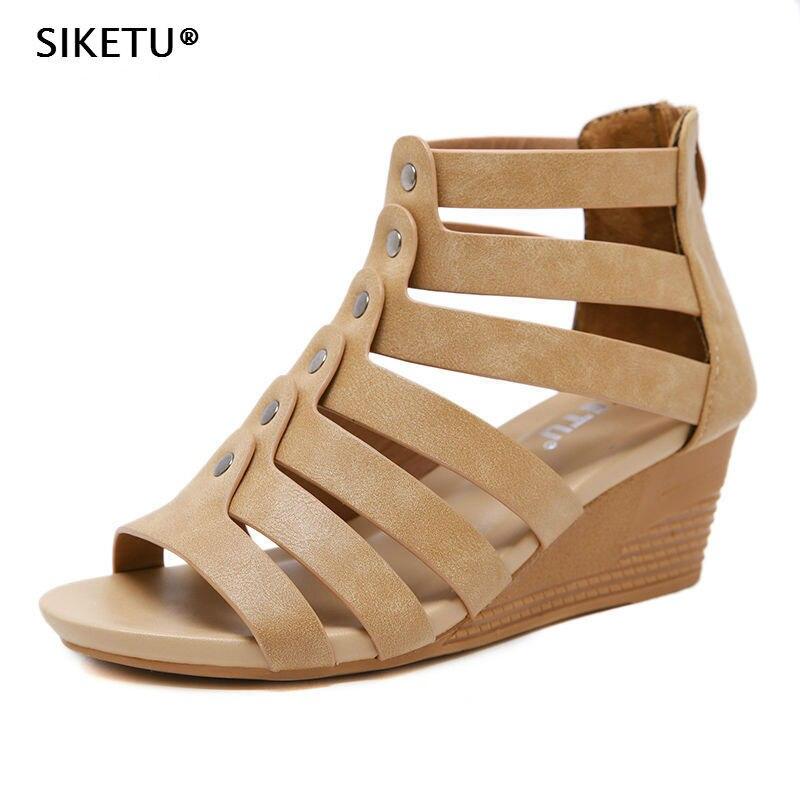 Compensées Noir Siketu Chaussures Luxruy Peep Plage Marron Confort Yb76gyvf