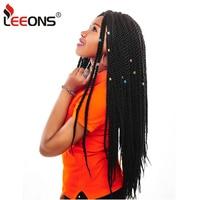 Leeons 8Pcs/Pack Kanekalon Braiding Hair Black Looped Crochet Braids Senegalese Twist Crochet Hair Senegal Twist For Afro Women