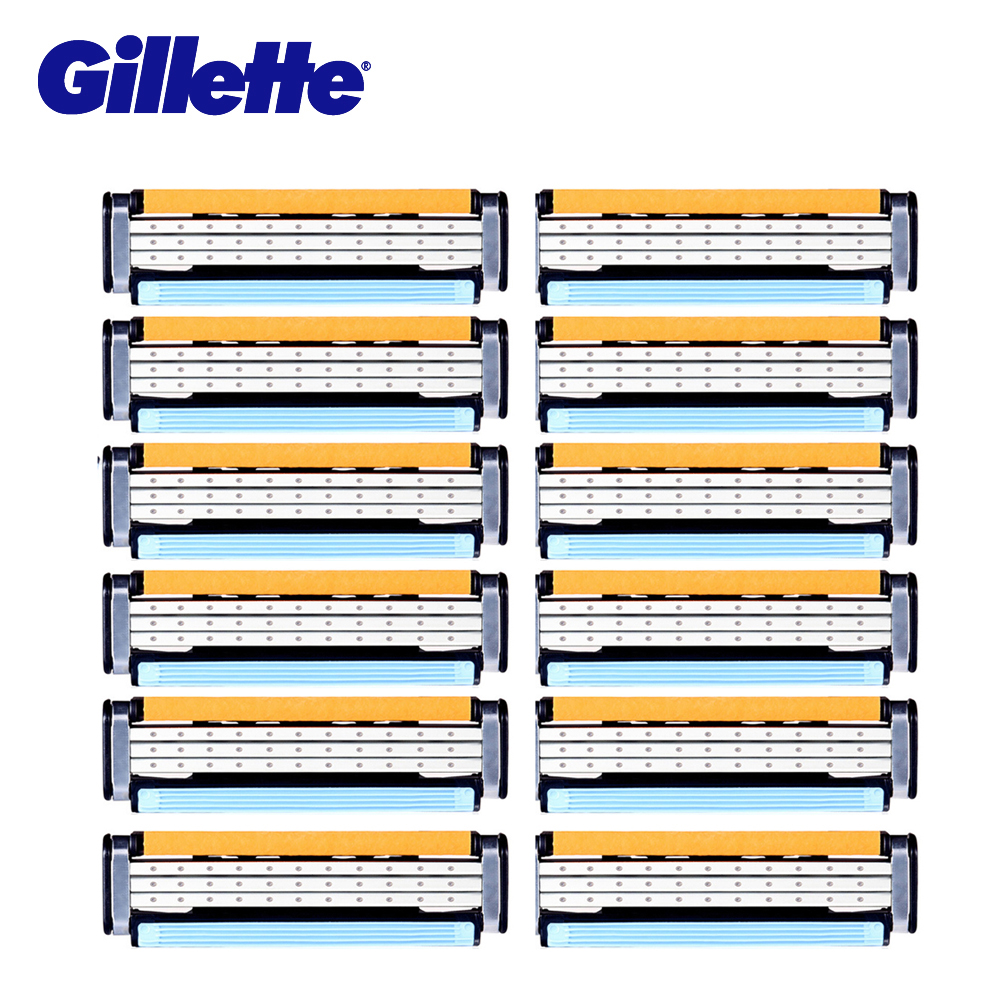 Gillette Vector 3 Shaving Razor Blades 3 Layer Shave Shaver Shaving Blades Safety Razor 12pcs Straight Razor Blades