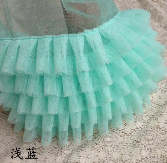 1 Yard Tulle Ruffled Lace Trim In Aqua Blue Tiffanyblu