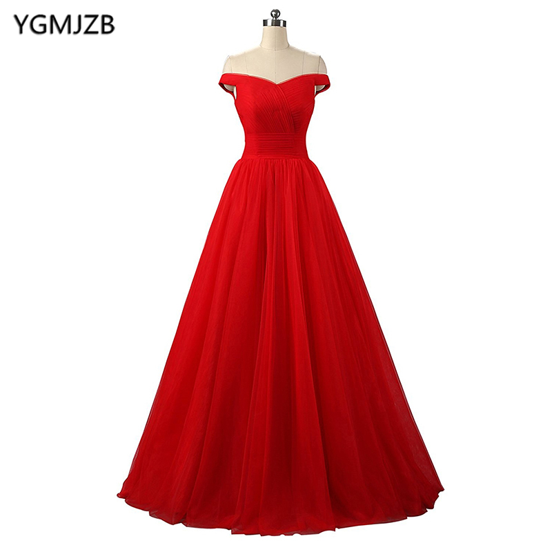 Long   Evening     Dresses   2018 A-line Sweetheart Off The Shoulder Pleat Red   Evening   Gown Prom   Dress   Prom Gown Vestido De Festa