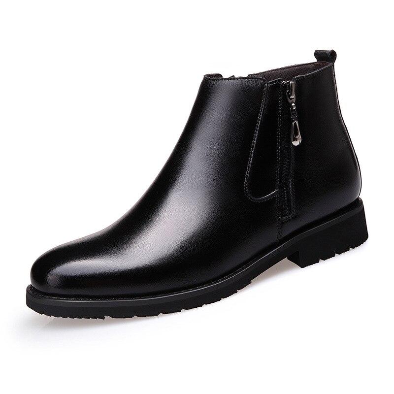 Inverno Baixos Casuais Britânico Chelsea Vintage Brown Sólidos Costura Moda Apontado Botas Tornozelo Zip preto Do Homens Estilo Motocicleta Dedo Sapatos XOxSq0