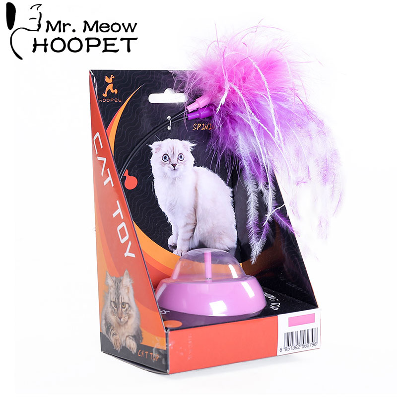 Hoopet Cat Toy Electric Rotating Colorful Feather Toys Plastic Funny Pet Interactive Training For Cats Supply
