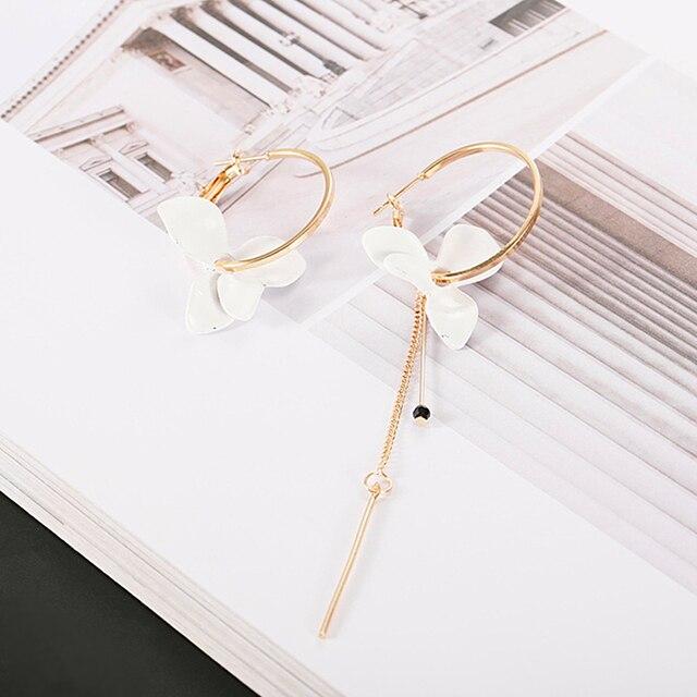 Elegant White Flower Asymmetric Earrings for Women Gold Color Small Hoops Circle Earrings Long Chain Bar.jpg 640x640 - Elegant White Flower Asymmetric Earrings for Women Gold Color Small Hoops Circle Earrings Long Chain Bar Earrings Christmas Gift